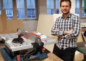 Die Bosch GTS10 XC Tischkreissäge komplett aufgebaut in unserer Werkstatt.